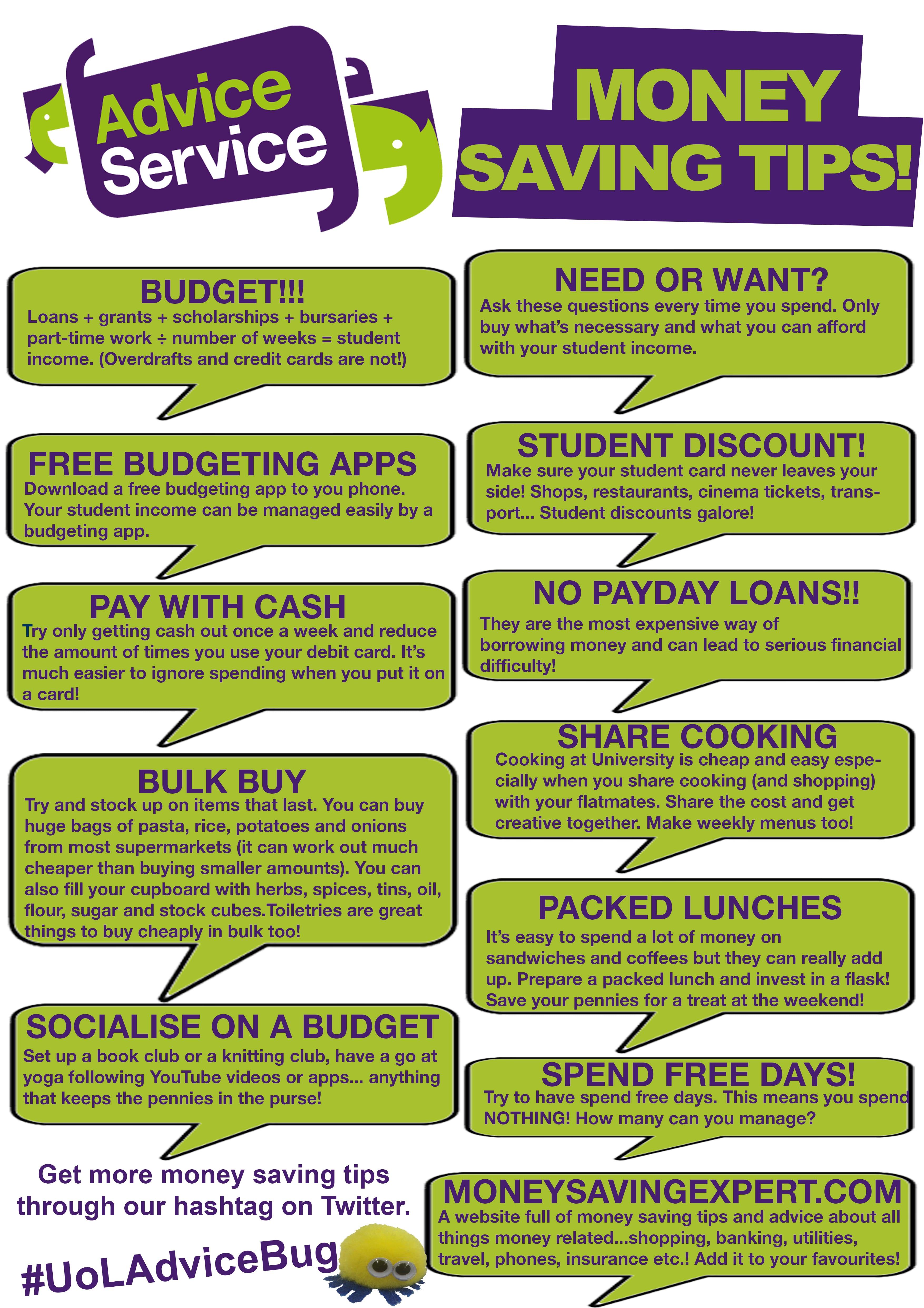 Money Saving Tips Leaflet Advice Service