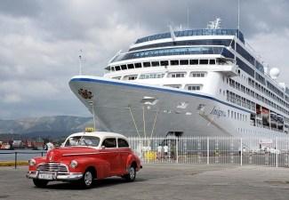 Santiago Del Cuba, Oceania Insignia with Vintage Taxi