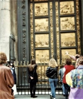 bronze doors f the bapistry phot by suzanne Lane