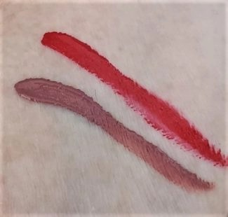 mgs beauty lip color swatches (2) color swsatches saucy and posh longwear colors