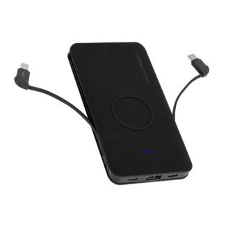 chargehubgo plus power bank with wireless charging pad usb charging port and 2 built in cables.