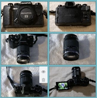 six photos of Olympus OMDE M5 Mark IIIOlympus collage by alison blackman for advicesisters.com