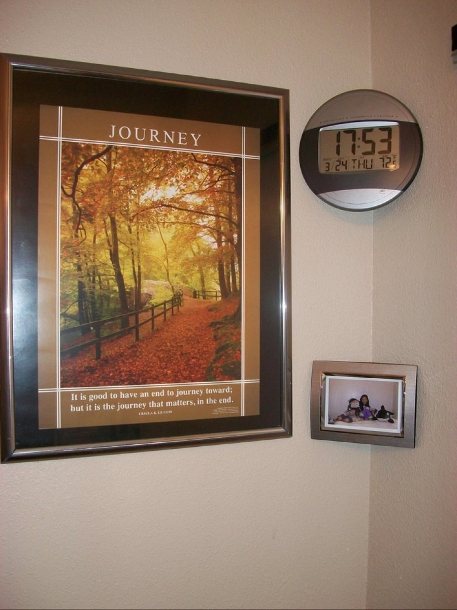 Picture and-or clock displayed in wall corner