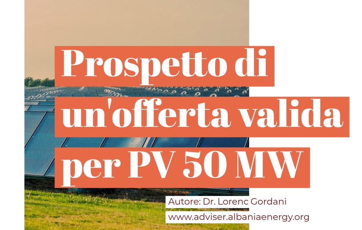 Prospetto di un'offerta vincente per il parco solare da 50 MW