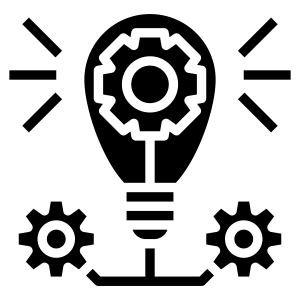 icon of a lightbulb and gears indicating an idea
