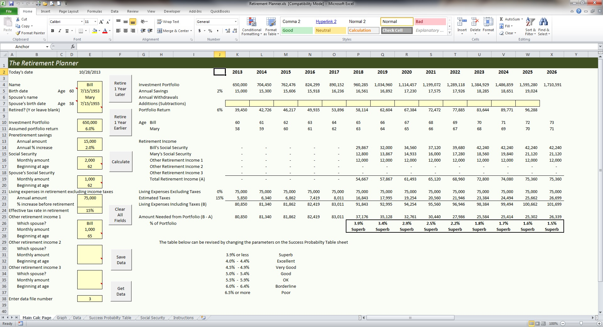 Above Is A Screenshot Of The Most Complicated Spreadsheet In The Retirement  Planner. By Changing The One Of The Variables Of The Retirement Income  Planning