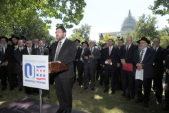 Rabbi Marc Penner, Dean of Yeshiva University Seminary, addresses hundreds of rabbis who rallied on Capitol Hill against the Iran nuclear deal.