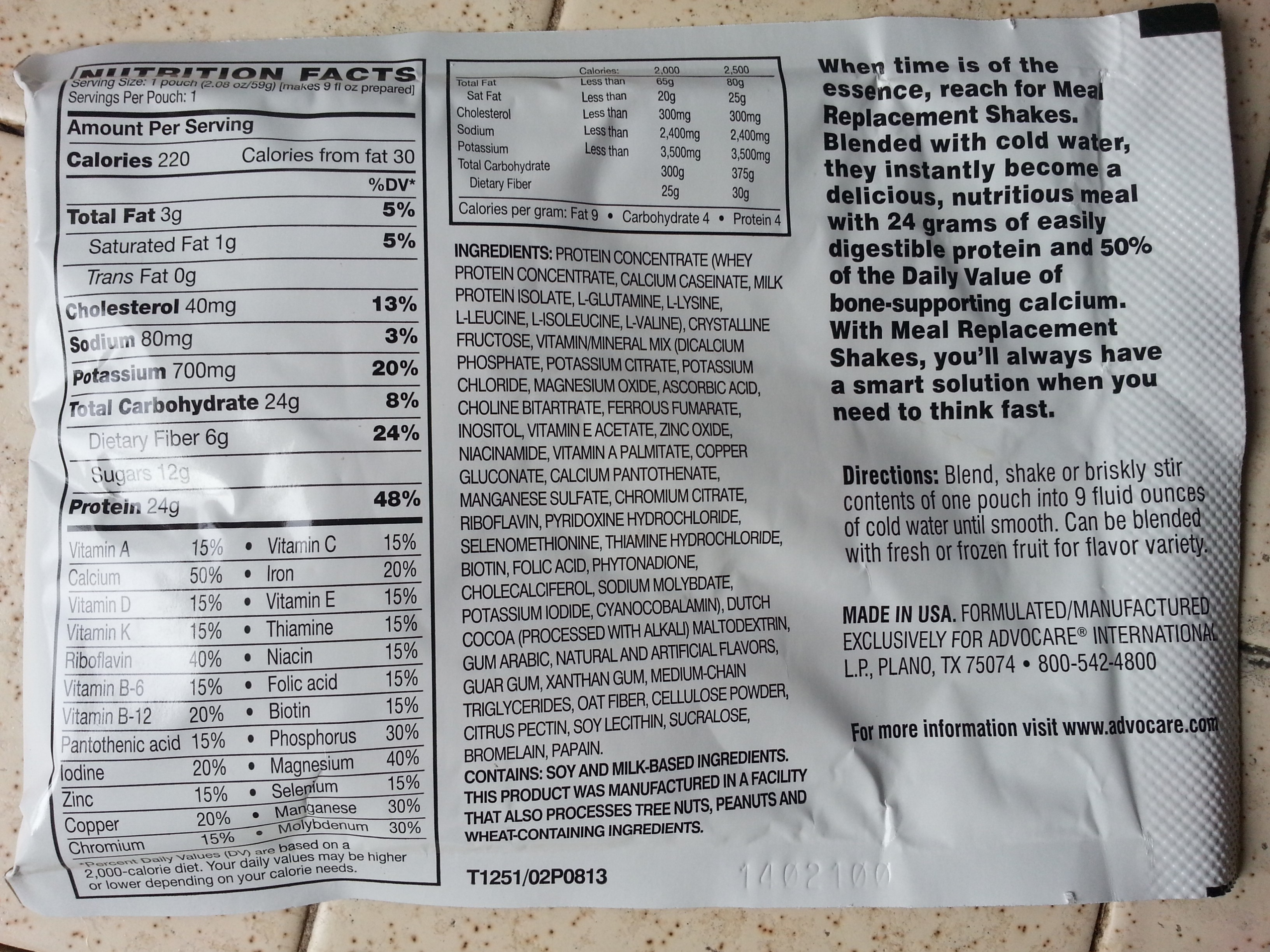 Advocare Chocolate Meal Replacement Shake Nutrition Facts