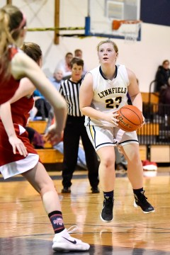Mackenzie O'Neill of Lynnfield focuses on the basket before taking a shot during their game against Masconomet at Lynnfield High School on Monday, Jan. 22, 2018.