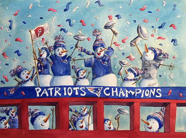 """Gina Hagen's card """"Patriot Snowmen,"""" recognizes the New England Patriots for the team's come-from-behind win in Super Bowl 51."""