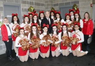 Superintendent of Everett Public School Fred Foresteire with the EHS Varsity Cheerleaders