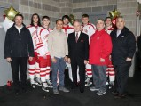 The EHS Crimson Tide Seniors with Administrator Christopher Barrett, School Committee Member Marcony Almeida Barros, Superintendent of Schools Fred Foresteire, Keverian School Principal Alex Naumann and EHS Principal Erick Naumann