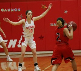 Senior Meaghan Gannon played a tough game of defense.