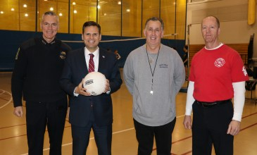 Malden Police Chief Kevin Molis, Mayor Gary Christenson, Malden Rec. Director Joe Levine and Malden's Fire Chief Kevin Finn. These Malden public servants joined forces to benefit Malden's young men and women.