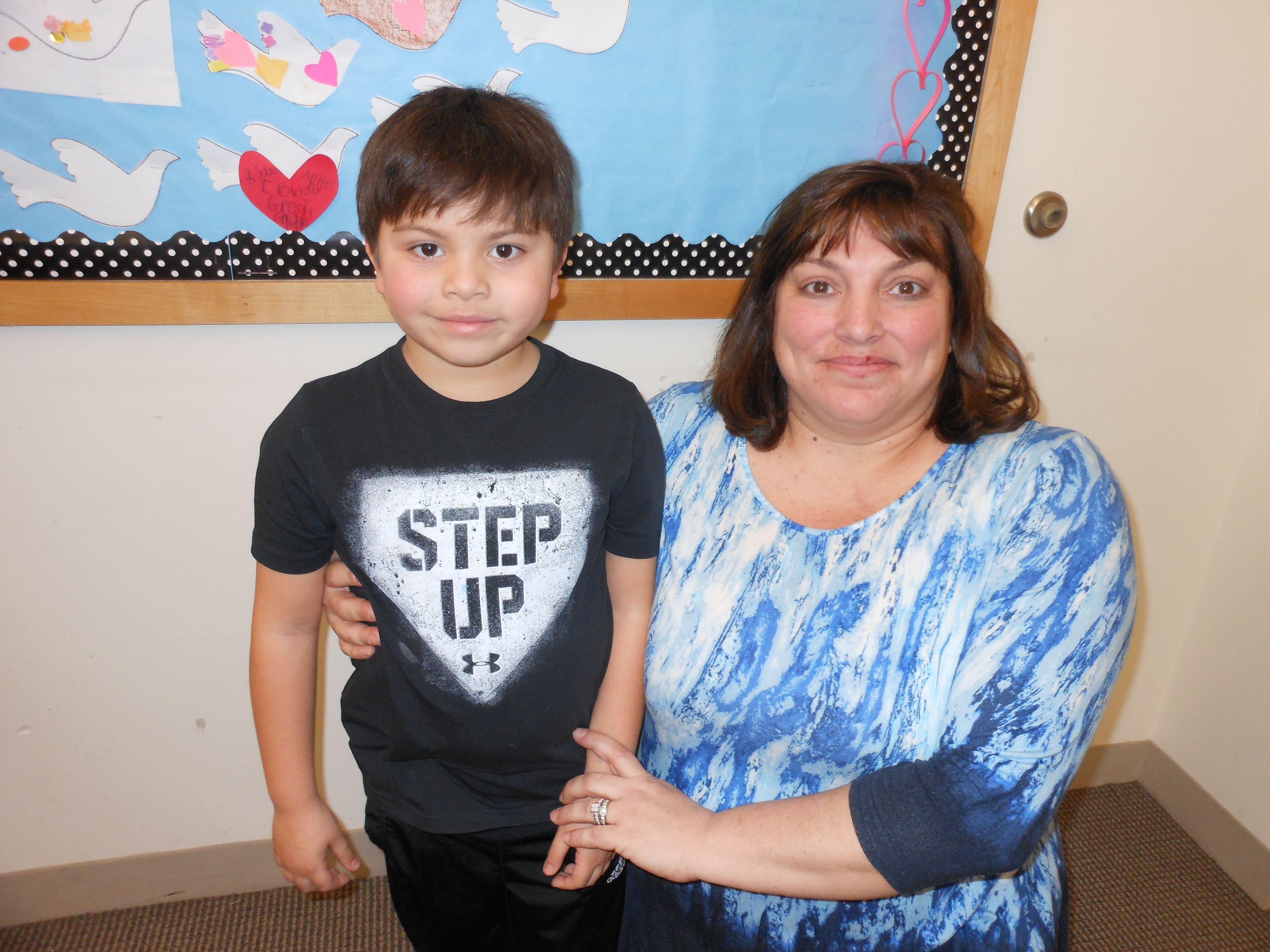 SHOWING SOME HEART: Long-time Saugus elementary school teacher Tammy Sazo is proud of her son Anthony, 6, for an expression of love in a Valentine's Day heart he made and dedicated to his late great-grandmother, which will be displayed on the bulletin board at the Saugus Public Library.
