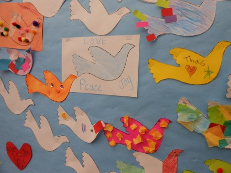 "VALENTINE'S DAY ART: The Saugus Public Library invites all of the town's children to share in the message of ""Love, Peace and Joy"" by making a heart or dove and adding it to the bulletin board between now and Valentine's Day."