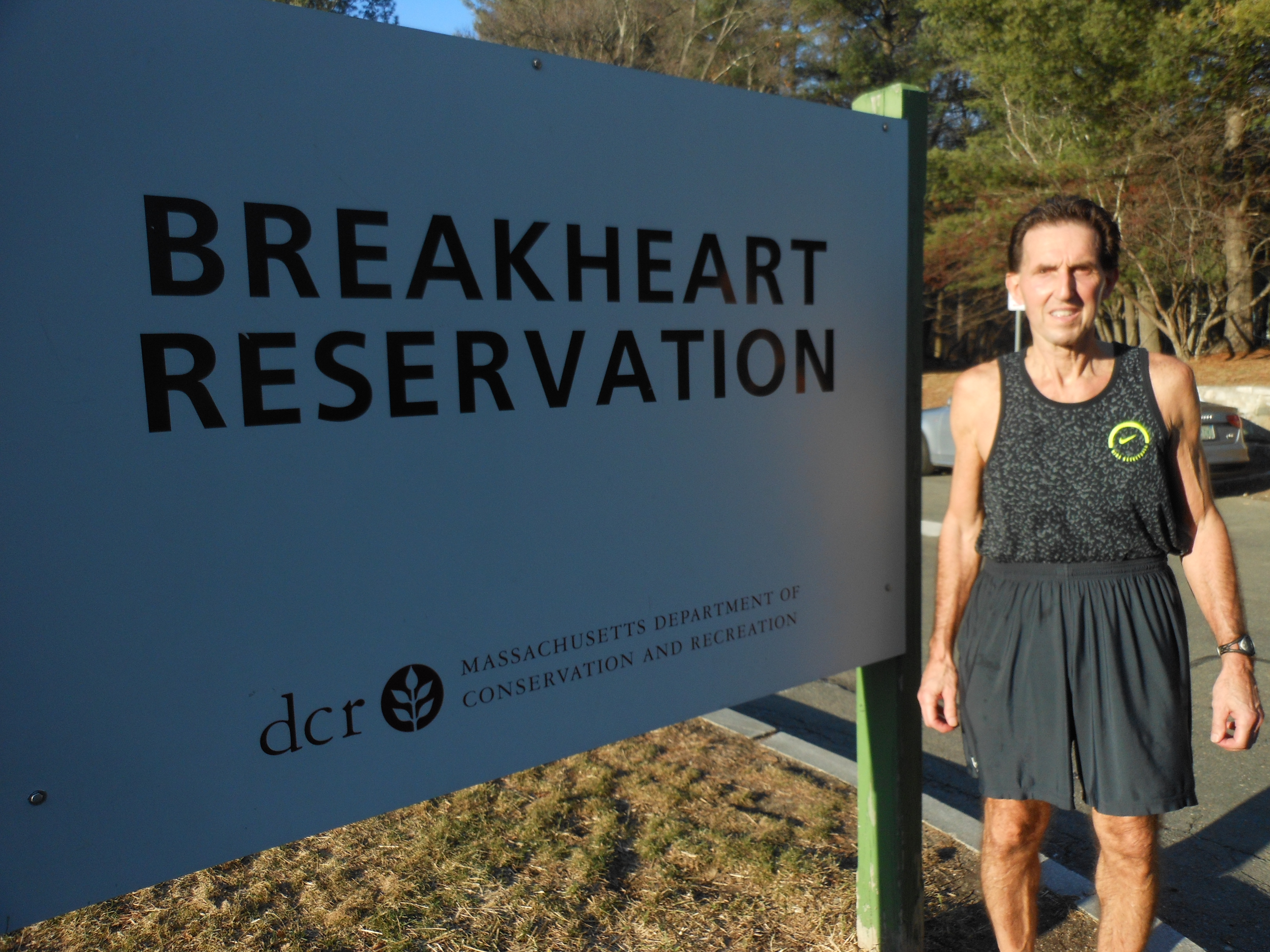 A RARE FEBRUARY RUN: Saugus native Stephen Boudreau says he's been running the trails at Breakheart Reservation for more than half a century, but can't recall consecutive days in February – like this past Tuesday and Wednesday – when unseasonably warm weather gave him the pleasure of an outdoor run when he'd normally be doing his daily workout inside, at the gymnasium or on the basketball court. (Saugus Advocate Photos by Mark E. Vogler)