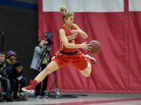 Kloey Cardillo of Everett saves the ball from a back court violation during their game against Somerville at Somerville High School on Tuesday, Feb. 13, 2018.