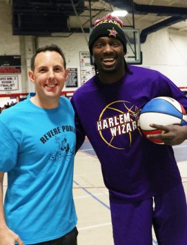 Mayor Brian Arrigo with Harlem wizard, Loonatic before the game last Tuesday.