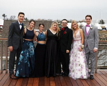 Having fun at the Danversport Yacht Club outside deck, John Leone, Nicole Mendoncy, Lily Belschner, Janelle Capozzi, Sal Christie, Jessica Haggerty and EJ Leone.