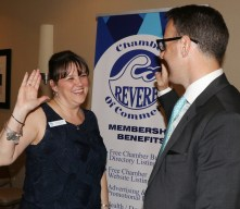 Always with a big smile on her face, Karen Gallo is installed as the new President of the Revere Chamber of Commerce by Mayor Brian Arrigo.