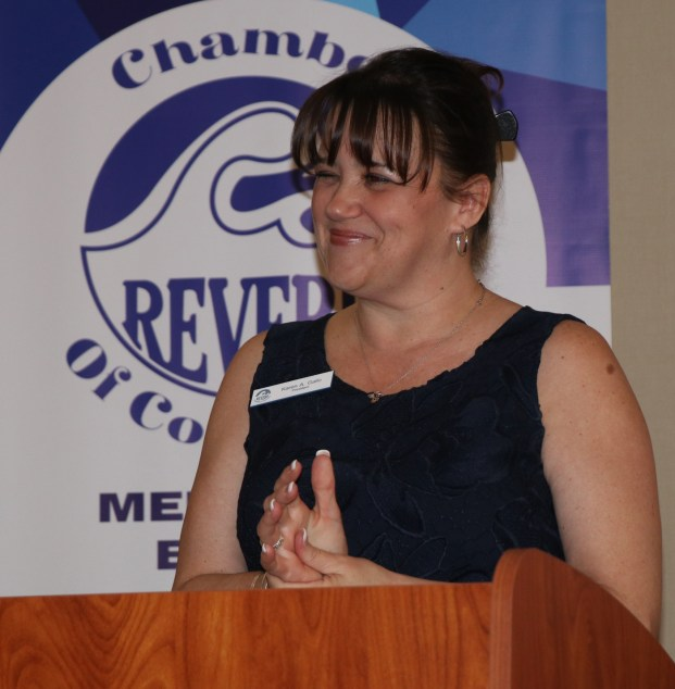 All smiles and ready to take over, President Karen Gallo addresses the many guests at the Comfort Inn and Suites last Wednesday evening