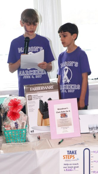 Mason Wetmore with his brother, Andrew, by his side gives a short speech and thanks everyone for their generosity and caring. Mason invited everyone to join him and his family on the walk on June 9, 2018 – Take Steps for Crohn's & Colitis Foundation. For info go to cctakesteps.org.