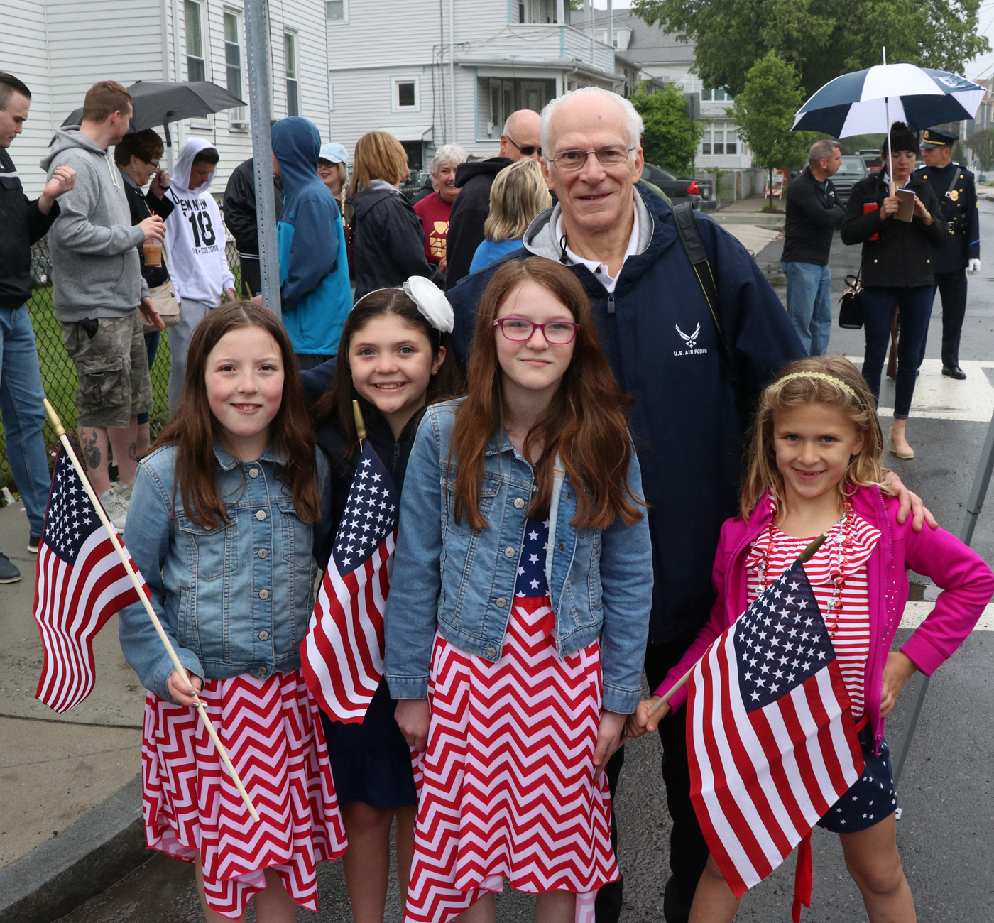 Former Malden Director of Veterans Services and family member John Webster with his grad daughters, Deirdre Marcella, Sienna Piland, Mary Marcella, Olivia Piland.