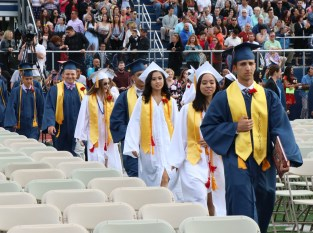 The class of 2018 head into the stadium last Thursday night.