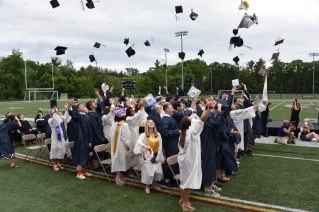 HATS OFF TO THE CLASS OF 2018: Graduates of the Class of 2018 throw their mortar boards into the air following the graduation ceremony on June 1. (Advocate photos by Ross Scabin)
