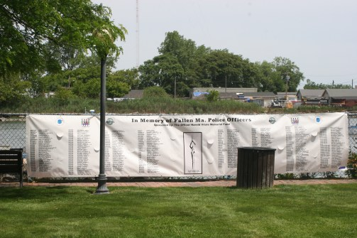 THE TRAVELING MEMORIAL TO FALLEN OFFICERS OF MASSACHUSETTS: Yarmouth Police Sgt. Sean Gannon's name has been added the special list of more than 300 Massachusetts police officers killed in the line of duty. There was a moment of silence at Vitale Park last Saturday for Gannon, who died of wounds he received on April 12 while police were serving an arrest warrant at a Marstons Mills home on Cape Cod.