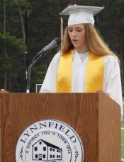 Student Council President Mia Ford spoke during the Lynnfield High School Graduation on June 1. (Advocate Photos by Christopher Roberson)