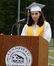 Valedictorian Analeigha Colarusso spoke during the Lynnfield High School Graduation on June 1.