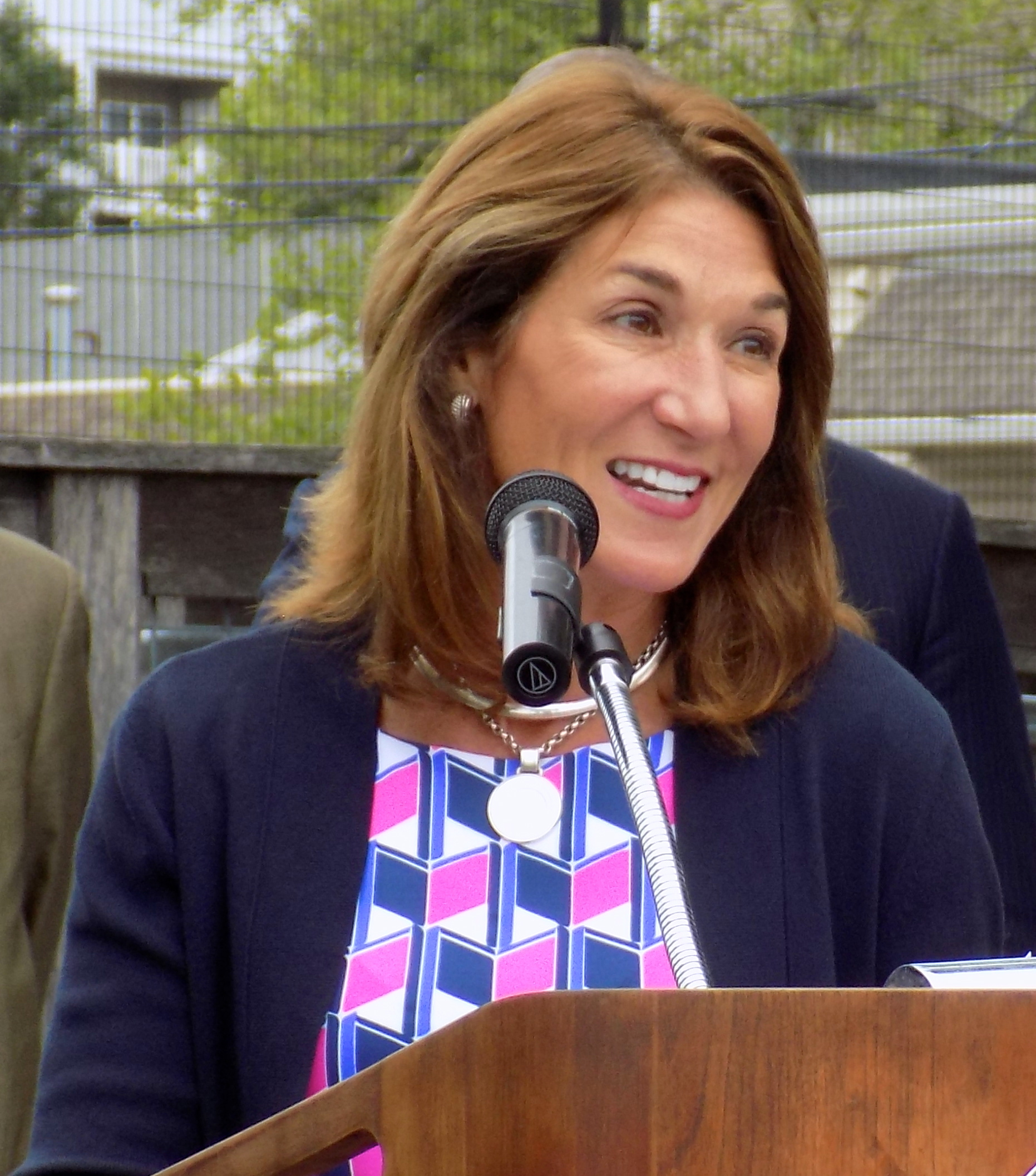 Lt. Gov. Karyn Polito was on hand to help present two state grants to the city totaling $467,616 for Municipal Vulnerability Preparedness at East End Peabody Veterans Memorial Park on June 1.