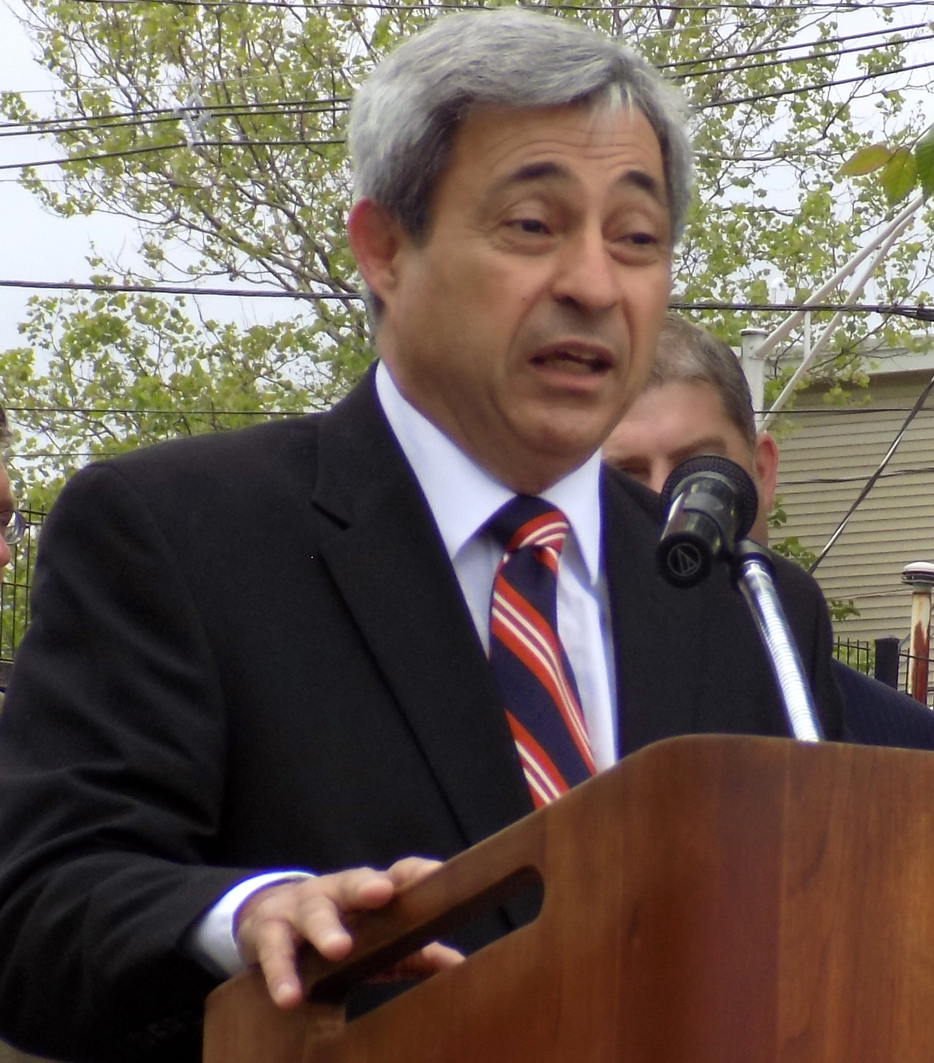 State Rep. Theodore Speliotis was on hand to help present two state grants to the city totaling $467,616 for Municipal Vulnerability Preparedness at East End Peabody Veterans Memorial Park on June 1.