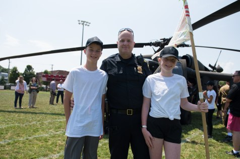 Captain Landry invited his kids Sean and Brooke to get up close with the Blackhawk helicopter in Glendale Park