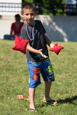 Darren Gonzalez enjoyed a game of corn hole on the grass at Glendale Park