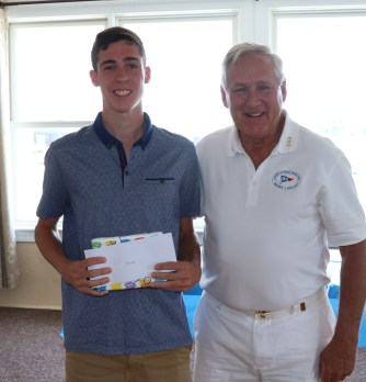 Commodore Jack Glancy with Mary Alice Downey Scholarship runner up Christian Reenstierna, Christian will be attending UNH in the fall.