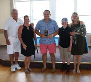 The 2018 Mary Alice Downey Scholarship recipient James O'Donnell III, James will attend Holy Cross and is shown with, Commodore Jack Glancy, Kelly Svendsen-Hurley, Ollie Svendsen, and Lynn Downey-Ross.