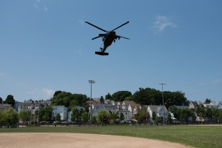A Blackhawk helicopter landed in Glendale Park on Wednesday afternoon