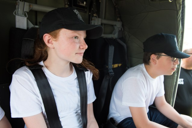 Alanna O'Brien enjoyed the perspective from the Blackhawk helicopter at Glendale Park on Wednesday