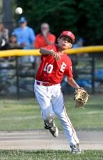 Christian Delgado of Everett throws the ball to first base after fielding a ground ball during their Little League District 12 game 6-2 loss to Medford at Gillis Park in Medford on Thursday, July 12, 2018.