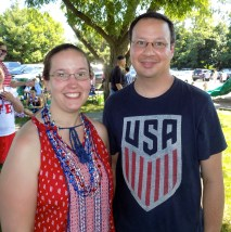 Residents Jessica and Gerry Tuoti during the Fourth of July festivities at Raddin Park.