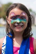 Nevaeh Steber showed off her colorful face paint at Devir Park on Tuesday.