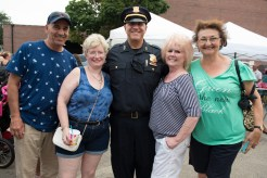 Frankie Pepbi, Patricia Griffis, Lt.Strong, Eileen Nye, and Pat Stevenson enjoyed National Night Out on Tuesday at the Rec Center