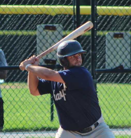 Peabody's David Ruggiero socked a leadoff home run in game four and went 4-for-4 in game five to help the Champions come back and win their NSBL semifinal series over Swampscott. (Advocate photos by Greg Phipps)