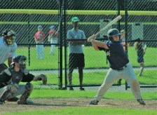 Peabody's David Ruggiero prepares to swing at a pitch in Sunday's 8-7 playoff victory over Swampscott.