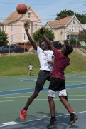 Jason Asamota made a shot during Saturday's 3-on-3 basketball games at Florence Street Park.
