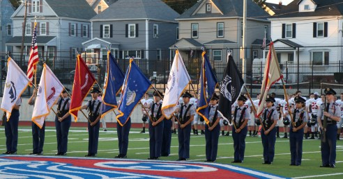 Patriots Battalion JROTC in the opening ceremony.