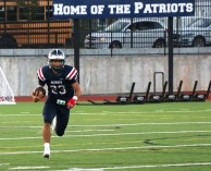 #23, Lucas Barbosa takes the opening kick-off for a big return for the Patriots.